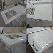 Custom Made White Artificial Quartz Stone Vanity Tops