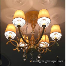 modern semi-pendant lamp wiht 6 lights top crystal for home