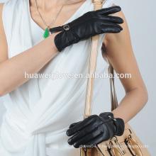 Gants en cuir nappa en couleur noire de haute qualité avec doublure en mince