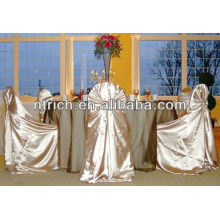 Ornate satin back tie pillowcase chair cover for banquet