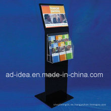 Soporte de exhibición de acrílico negro caliente de la venta para la revista, folleto