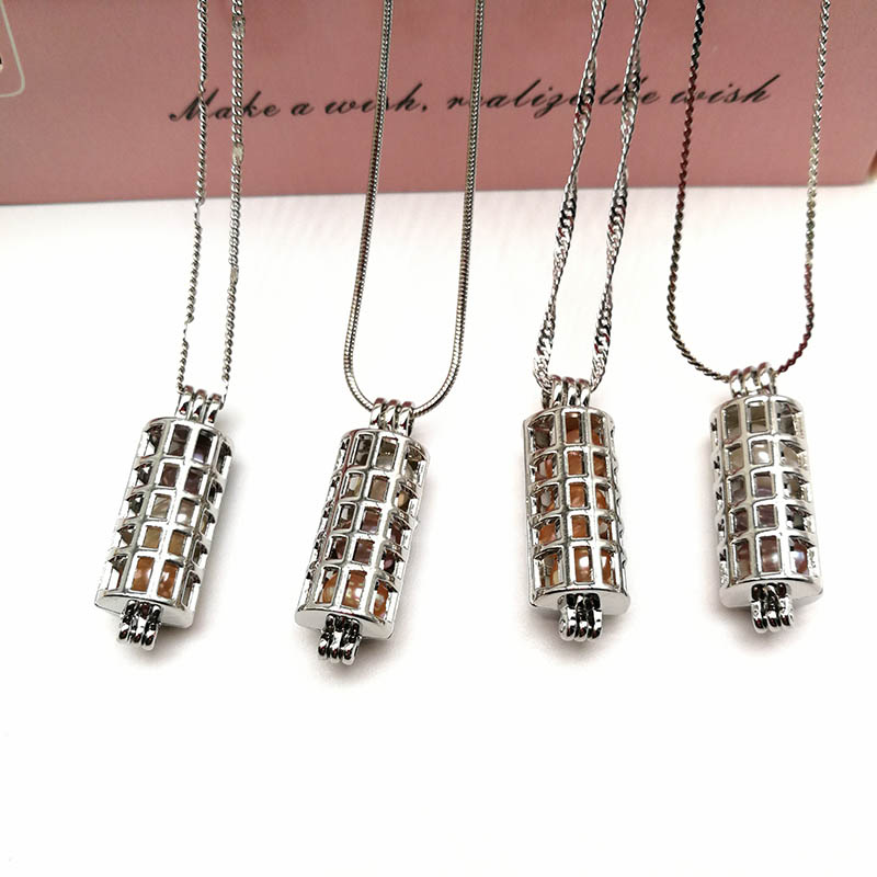 Pearl Locket Cage Pendant Necklaces