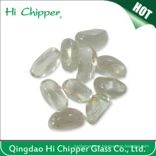 Clear Cashew Shape Glass Gemstone for Fireplace