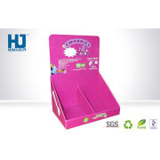 Supermarket Retail Pink Cardboard Counter Display Boxes For Baby Toys