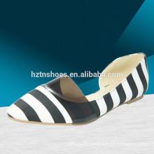 woman casual fashion flat shoes with bow Stripe print fashion ballerina shoe