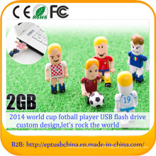 Jogador de futebol do campeonato do mundo movimentação da pena da movimentação do flash do USB (ET007)