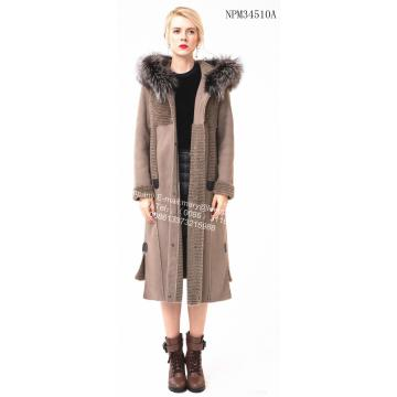 Long Hooded Australia Merino Shearling Coat