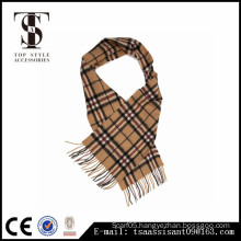 Women Winter Long Camel Tartan Pashmina Cashmere Blend Acrylic Scarf Soft Warm Warp Tassel Plaid Scarf