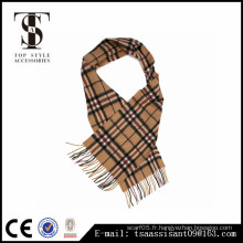 Women Winter Long Camel Tartan Pashmina Cachemire Blend Écharpe acrylique Soft Warm Warp Tassel Plaid Scarf