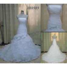HH0989 plisado corsé Nets Ruffles vestidos de novia en línea