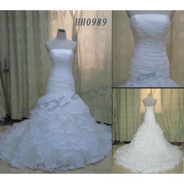 HH0989 Pleated Corset Nets Ruffles Wedding Dresses Online