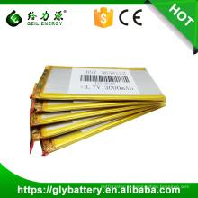 Bateria lipo recarregável da bateria do polímero do li de 3.7v 3000mah li