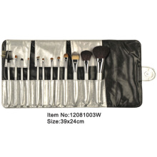 12pcs white plastic handle animal/nylon hair makeup brush set with black/white satin case