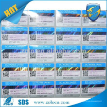 Étiquettes de codes à barres holographiques 3d personnalisées à la vente en Chine