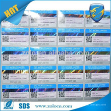 China hot sale custom 3d holographic barcode labels