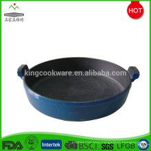 Stovetop flat cast iron enamel gratin pan