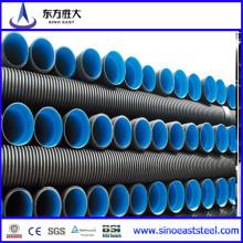 Tubo corrugado de pared doble PE de alta densidad para la ingeniería municipal de agua de lluvia