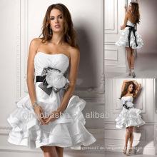 Sexy kurze schwarze Schärpe handgemachte Blumenfeder Pleat abgestuft trägerlosen eine Linie Brautkleider Brautkleider