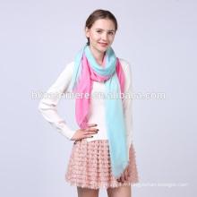 2017 usine vente hiver élégant à la main rose et bleu dégradé rampe écharpe en laine imprimé