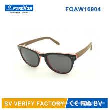 Acétate de 2016 vente chaude mélangée avec lunette de Temple en bois fabriqués à Wenzhou