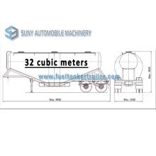 Mild Steel Q345 Tank 32m3 Tandem Axle Utility Trailer 2 Axle Fuwa 13 Ton