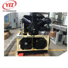 unidad de dos compresores de aire de alta presión con una alarma de alto voltaje adicional en la etapa final