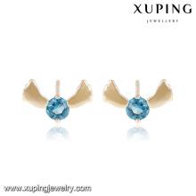 25472 Mode élégante unique pierre mignon pied bijoux fille boucle d'oreille