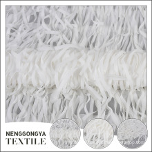 Factory supplier beatuiful polyester mesh white chiffon fabric with tassel