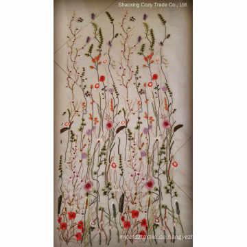 2017hot Mode Blumen Schmetterling Stickerei Stoff für Frau Tuch