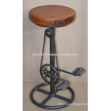 Industrial Bicycle part bar Stool leather seat