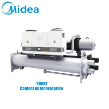 Midea inverter water cooled screw chiller 380V-3Ph-50Hz 1561kw parallel dual compressor inverter screw compressor water chiller