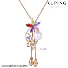 Xuping bijoux 18K CZ pierre nouvelle perle pendentif conceptions, collier de perles de perle d'eau douce