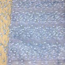Tela bordada flor azul perla Feaher para vestidos