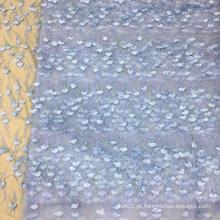 Tela bordada azul da flor da pérola de Feaher para vestidos