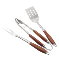3pcs bbq grill tools set in legno di rosa