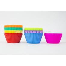 BPA Free Food Grade Küche Kuchen Backwerkzeuge Hitzebeständige wiederverwendbare Soft Silikon Cupcake Muffin Cup