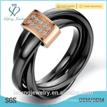 Diamond ring, Christmas gift, wrapping tricyclic ring fingers black ceramic Men