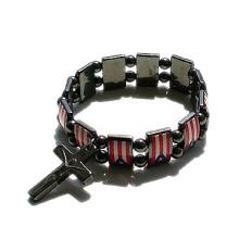 Bracelet de chapelet de hématite avec le drapeau Fotos