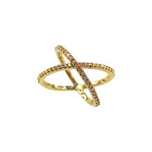 Banhado a ouro X estilo Crossover anel de noivado