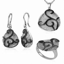 Conjunto de jóias de gota de água 925 Jóias de prata com CZ