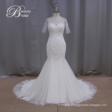 Short Sleeve Sheathy Mermaid Wedding Dress (XF1010)