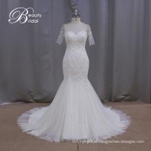 Vestido de noiva sereia Sheathy manga curta (XF1010)
