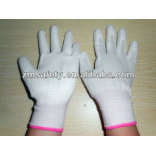 Guantes de Nylon recubiertos de palma de PU blanca 13G