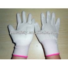 13 г Белый ПУ покрытием ладони перчатки нейлона