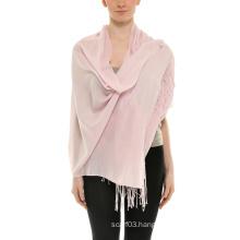 Solid Silk Wool Pashmina Scarf
