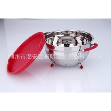Accesorios de cocina de acero inoxidable Cesta de fruta con asas antideslizantes