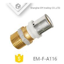 ЭМ-Ф-A116 прямой штекер подключения никелированный наружная резьба латунь Союз фитинги