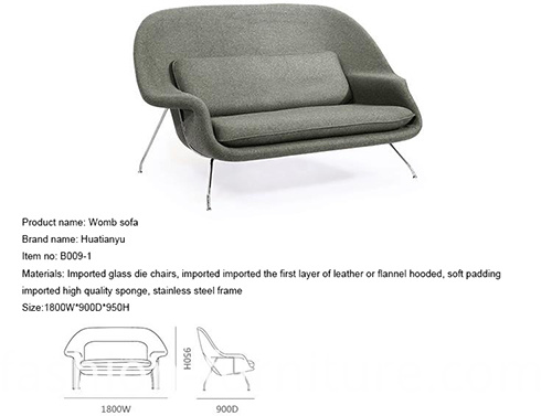 Settee Loveseat Womb Sofa