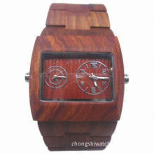 Classic Eco-friendly Wooden Watch with Dual Japan Three-hand Quartz Movement, Water Resistant