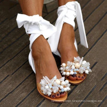 Superstarer Women Flat Sandals Ankle Strap Beaded Special Women′s Shoes Beach Sandals